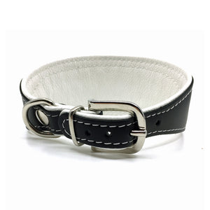 Wide black tapered leather collar with soft white leather lining and clear crystals from Style Hound - back view
