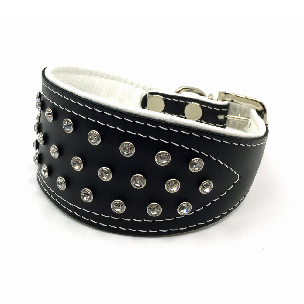 Wide black tapered leather collar with soft white leather lining and clear crystals from Style Hound - front view