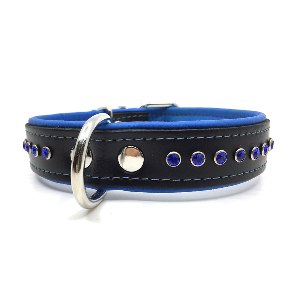 Black leather collar with soft blue leather lining and a single row of blue crystals from Style Hound - front view