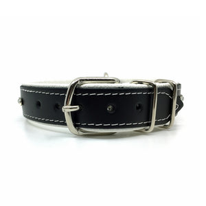 Black leather collar with soft white leather lining and a single row of clear crystals from Style Hound - back view