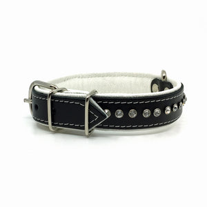 Black leather collar with soft white leather lining and a single row of clear crystals from Style Hound - side view