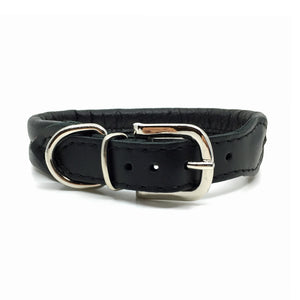 Black double rolled nappa leather collar with seam in the centre from Style Hound - back view