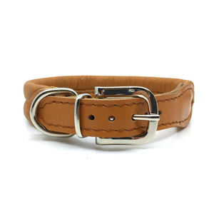 Cognac double rolled nappa leather collar with seam in the centre from Style Hound - back view