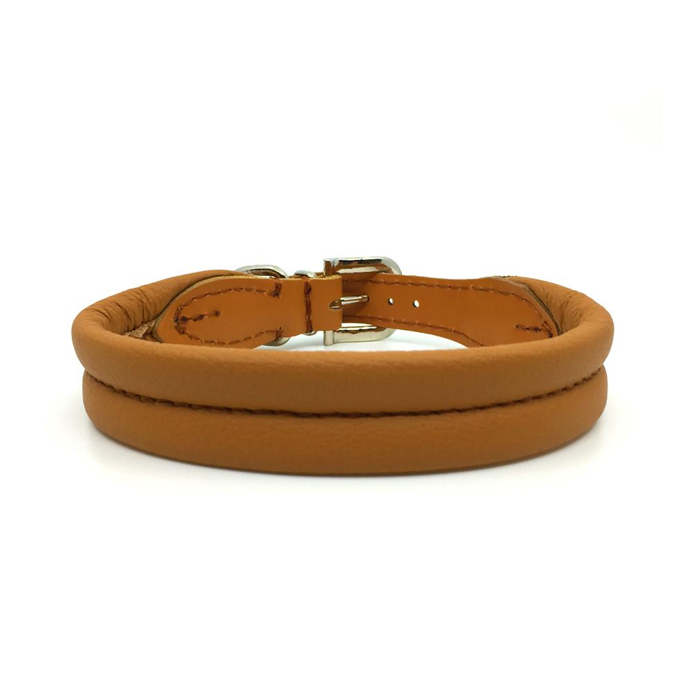 Cognac double rolled nappa leather collar with seam in the centre from Style Hound - front view