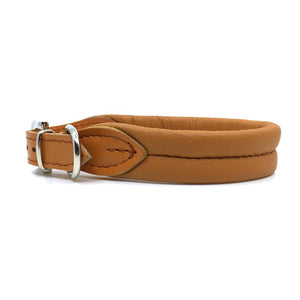 Cognac double rolled nappa leather collar with seam in the centre from Style Hound - side view