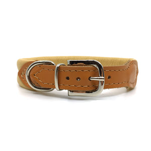 Natural tan double rolled nappa leather collar with seam in the centre from Style Hound - back view