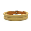 Natural tan double rolled nappa leather collar with seam in the centre from Style Hound - front view