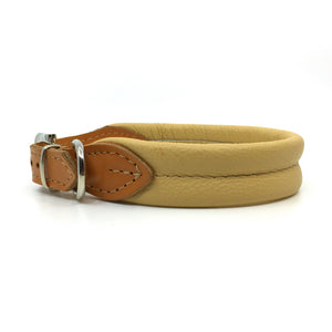 Natural tan double rolled nappa leather collar with seam in the centre from Style Hound - side view