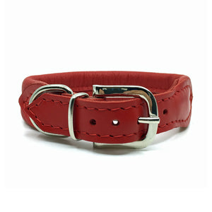 Red double rolled nappa leather collar with seam in the centre from Style Hound - back view
