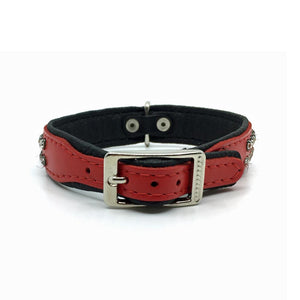 Red leather collar with 2 rows of inlaid clear crystals from Style Hound - back view
