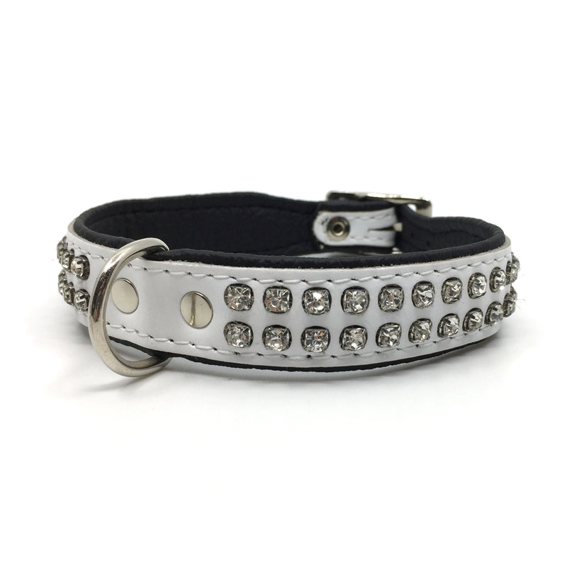 White leather collar with 2 rows of inlaid clear crystals from Style Hound - front view