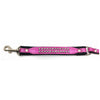 Padded pink leather lead with 2 rows of inlaid crystals from Style Hound - close-up view