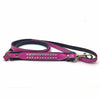 Padded pink leather lead with 2 rows of inlaid crystals from Style Hound - detail view