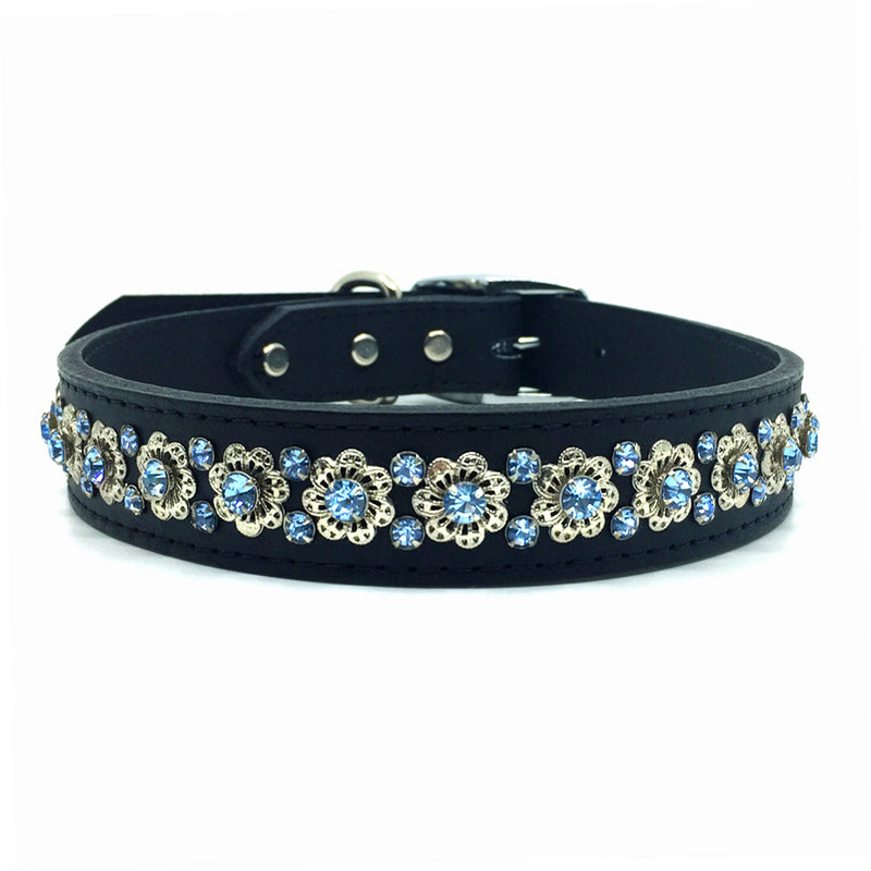 Black signature leather collar featuring intricate filigree design with blue crystals Black signature leather collar featuring intricate filigree design with blue crystals from Style Hound-front view