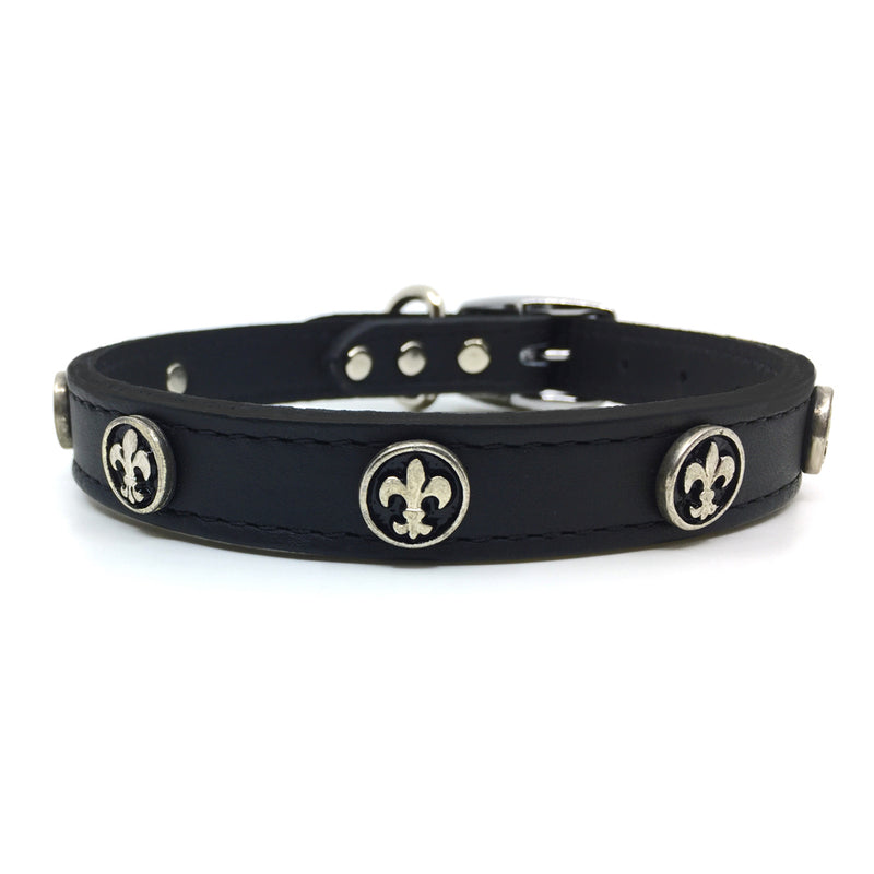 Black signature leather collar with solid and intricate silver metal Fleur de Lis embellishment from Style Hound-front view