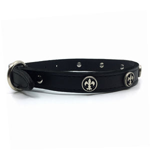 Black signature leather collar with solid and intricate silver metal Fleur de Lis embellishment from Style Hound-side view