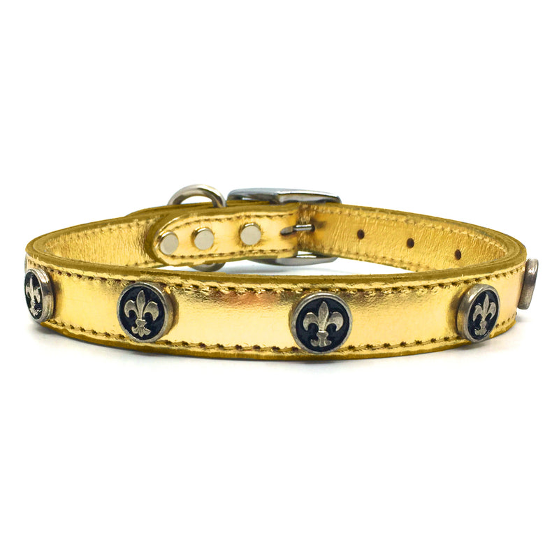 Metallic gold leather collar with solid and intricate metal Fleur de Lis embellishment from Style Hound-front view