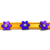 Metallic orange leather collar with purple leather flowers with a crystal in each flower from Style Hound-detail view