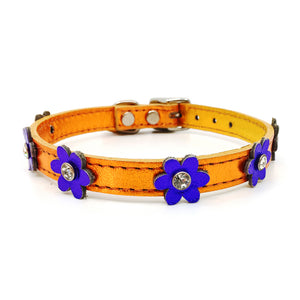 Metallic orange leather collar with purple leather flowers with a crystal in each flower from Style Hound-front view 2