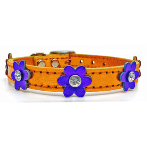 Metallic orange leather collar with purple leather flowers with a crystal in each flower from Style Hound-front view