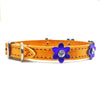 Metallic orange leather collar with purple leather flowers with a crystal in each flower from Style Hound-side view