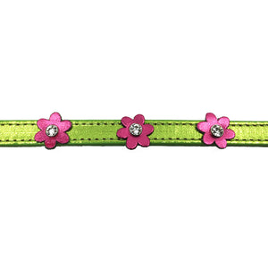 Metallic green leather collar with pink leather flowers with a crystal in each flower from Style Hound-detail view