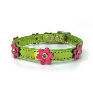 Metallic green leather collar with pink leather flowers with a crystal in each flower from Style Hound-front spotlight view