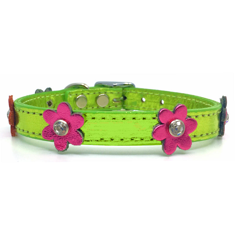 Metallic green leather collar with pink leather flowers with a crystal in each flower from Style Hound-front view
