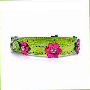 Metallic green leather collar with pink leather flowers with a crystal in each flower from Style Hound-side view