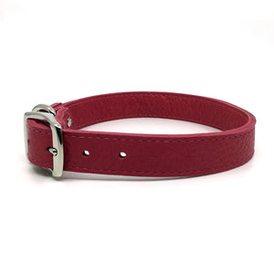 Butter soft grain leather collar in a hot flamingo colour from Style Hound-side view