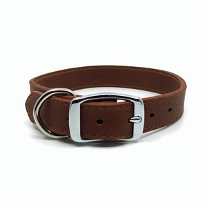 Butter soft grain leather collar in a tobacco colour from Style Hound-back view