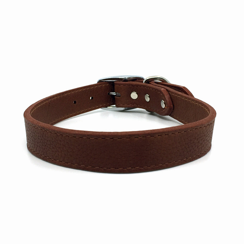 Butter soft grain leather collar in a tobacco colour from Style Hound-front view