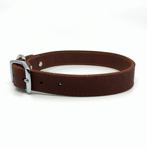Butter soft grain leather collar in a tobacco colour from Style Hound-side view