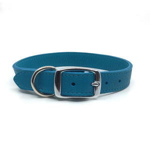 Butter soft grain leather collar in a turquoise colour from Style Hound-back view