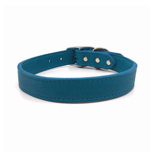 Butter soft grain leather collar in a turquoise colour from Style Hound-front view