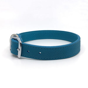 Butter soft grain leather collar in a turquoise colour from Style Hound-side view