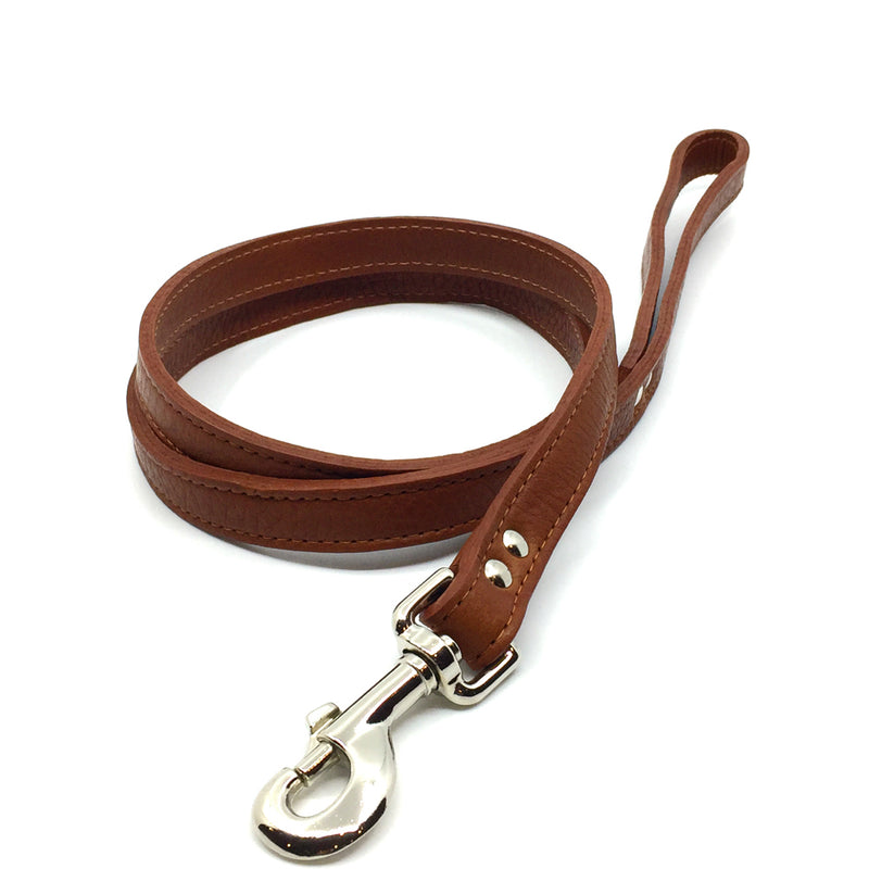 Butter soft grain leather lead in a tobacco colour from Style Hound-front view