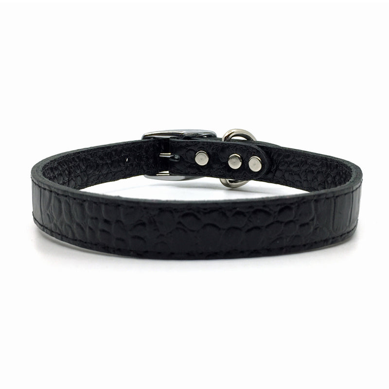 Mock crocodile leather collar in Black from Style Hound - front view