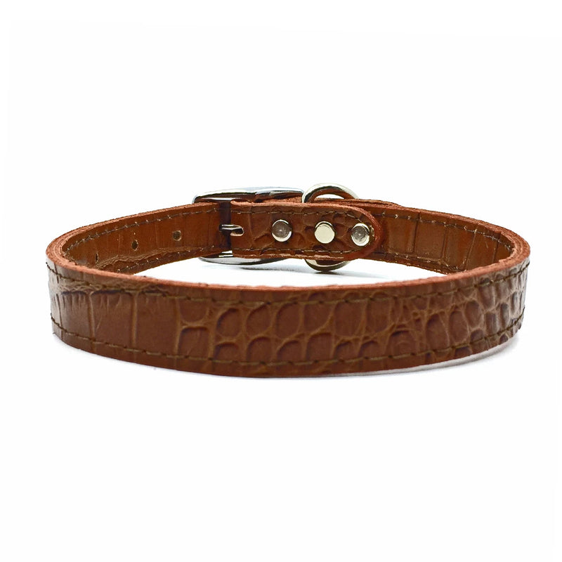 Mock crocodile leather collar in Mocha from Style Hound - front view