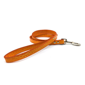 Mock crocodile leather lead in Orange from Style Hound - front view