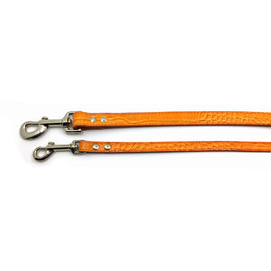 2 Mock crocodile leather leads in Orange from Style Hound - Slim and Standard