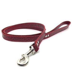 Mock crocodile leather lead in Red from Style Hound - side view