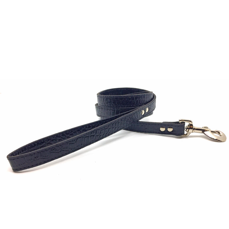 Mock crocodile leather lead in Black from Style Hound - front view
