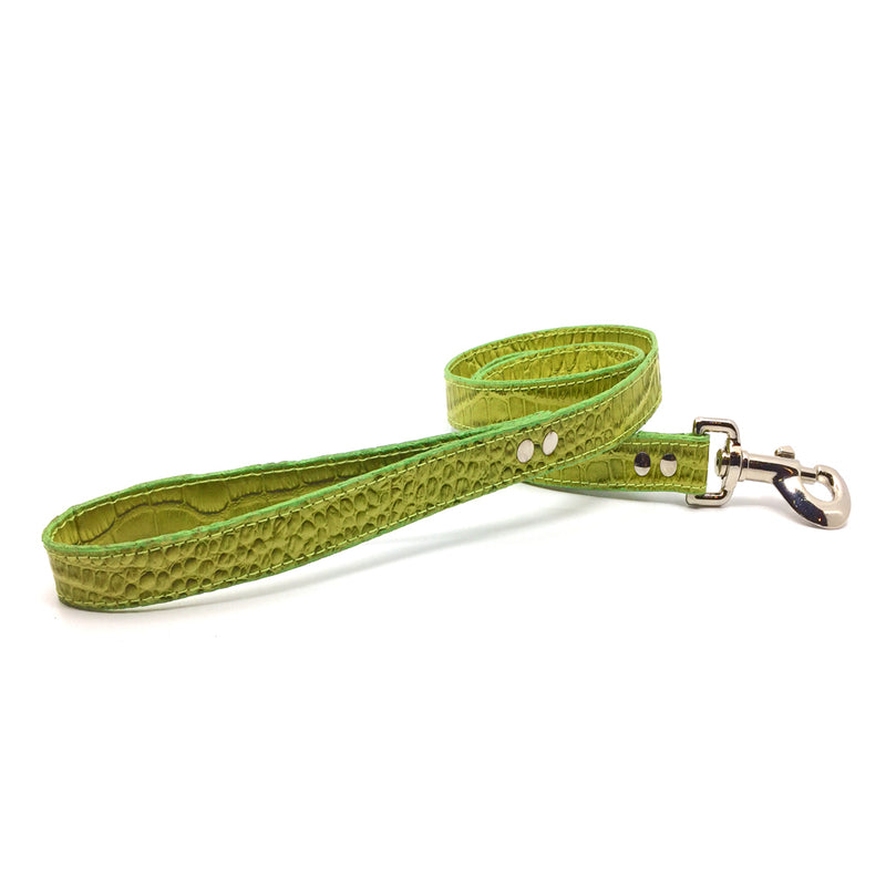 Mock crocodile leather lead in Green from Style Hound - front view