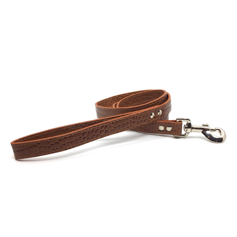 Mock crocodile leather lead in Mocha from Style Hound - front view