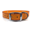 Orange mock croc leather collar personalised with diamante name from Style Hound-back view