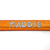 Orange mock croc leather collar personalised with diamante name from Style Hound-detail view
