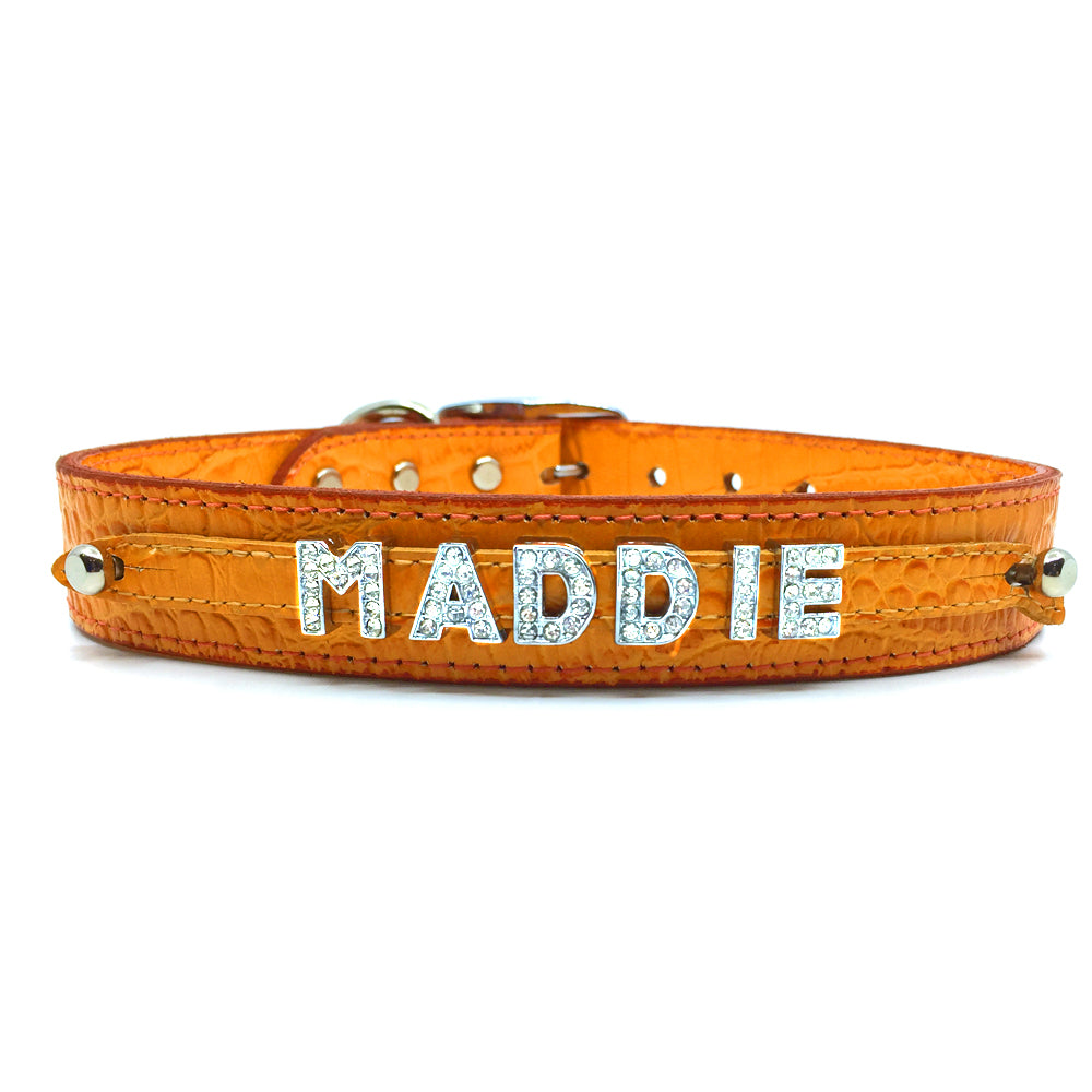 Orange mock croc leather collar personalised with diamante name from Style Hound-front view