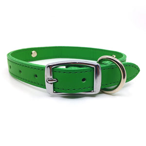 Emerald Green leather collar personalised with diamante name from Style Hound-back view