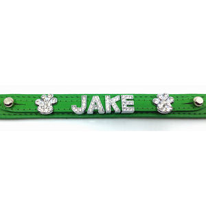 Emerald Green leather collar personalised with diamante name from Style Hound-detail view